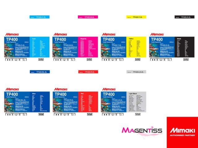 Magentiss : encre à pigment TP400 en poche de marque MIMAKI, contenance 2000 ml