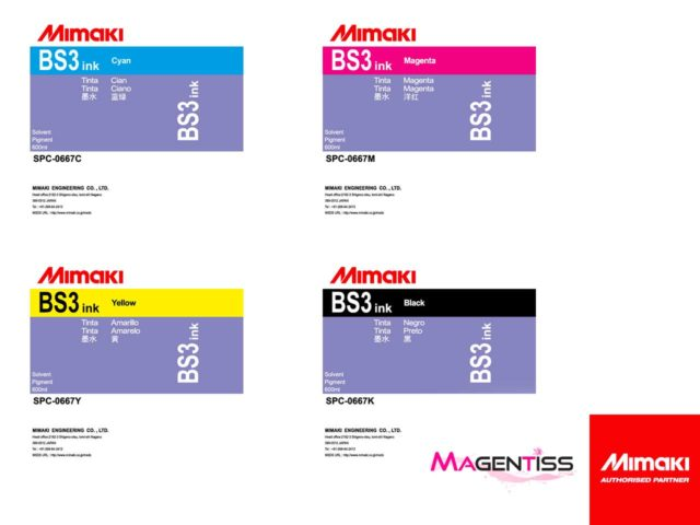 Magentiss : encre à solvant BS3 en poche de marque MIMAKI, contenance 600 ml