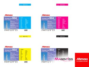 Magentiss : encre à solvant BS4 en poche de marque MIMAKI, contenance 2000 ml