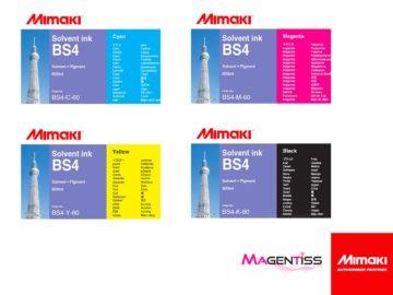 Magentiss : encre à solvant BS4 en poche de marque MIMAKI, contenance 600 ml