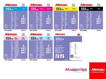 Magentiss : encre à solvant ES3 en cartouche de marque MIMAKI, contenance 440 ml et 220 ml