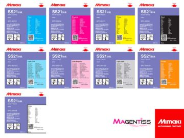 Magentiss : encre à solvant SS21 en cartouche de marque MIMAKI, contenance 440 ml et 220 ml