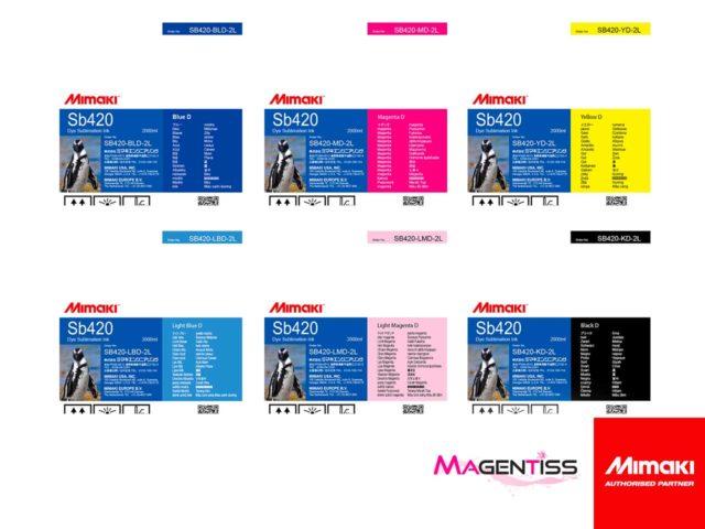 Magentiss : encre à sublimation SB420 en poche de marque MIMAKI, contenance 2000 ml