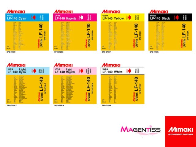 Magentiss : encre durcissable UV LED LF-140 en poche de marque MIMAKI, contenance 600 ml