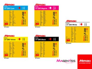 Magentiss : encre durcissable UV LED LF-200 en poche de marque MIMAKI, contenance 600 ml