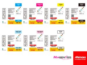 Magentiss : encre durcissable UV LED LH-100 en bouteille de marque MIMAKI, contenance 250 ml